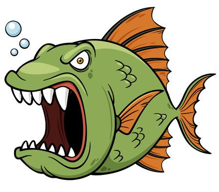 piranha: Vector illustration of angry fish cartoon