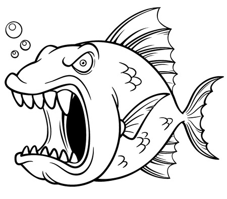 Vector illustration of angry fish cartoon - Coloring book Vector