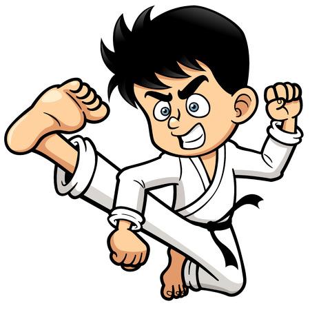 deportes caricatura: Ilustraci�n vectorial de Retroceso del muchacho del karate