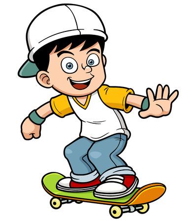 niño en patines: Ilustración vectorial de niño de patinaje
