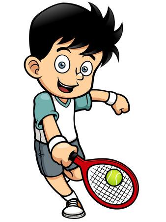 tennis racquet: Vector illustration of Tennis Player
