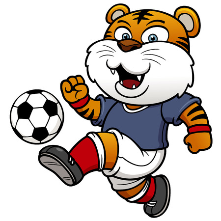 young animal: Vector illustration of Soccer tger player