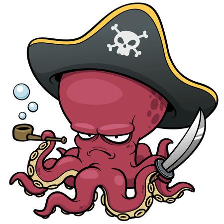 cartoon: ilustración vectorial de pulpo pirata de la historieta Vectores