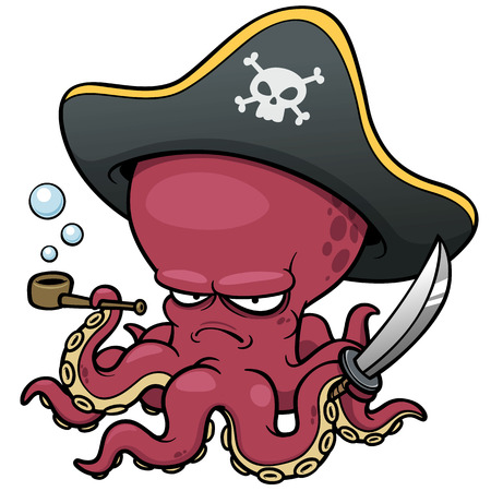 vector illustration of Cartoon pirate octopus Çizim