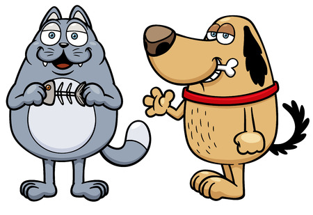 Vector illustration of cartoon cat and dog Stock Vector - 24560304