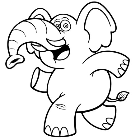 Vector illustration of Cartoon Elephant - Coloring book Vector