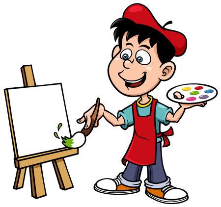 paintings: Vector illustration of Cartoon artist boy Illustration