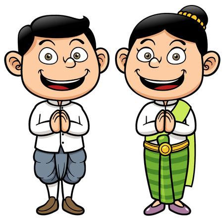 Vector illustration of Thai kids, Sawasdee Stock Illustratie
