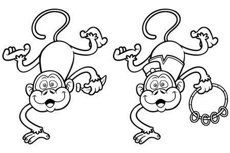 Ilustración De Dibujos Animados Mono Con Banana - Libro Para ...