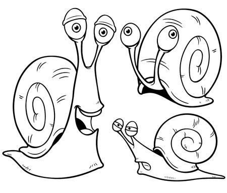 libro caricatura: Ilustración vectorial de caracol de dibujos animados - Libro para colorear Vectores