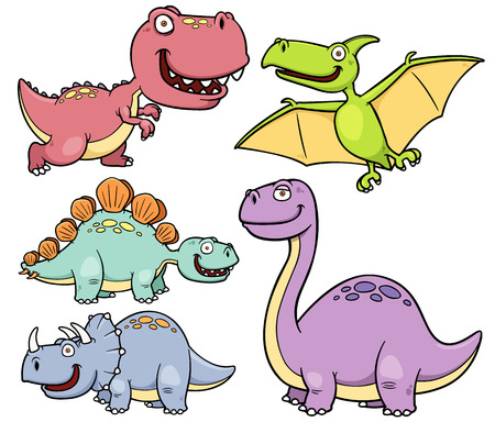 Vector illustration of Dinosaurs cartoon characters Vector