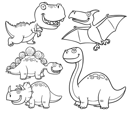 Vector illustration of Dinosaurs cartoon characters - Coloring book Vectores
