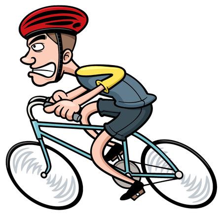 bicycle helmet: Vector illustration of Cartoon Cyclist Illustration