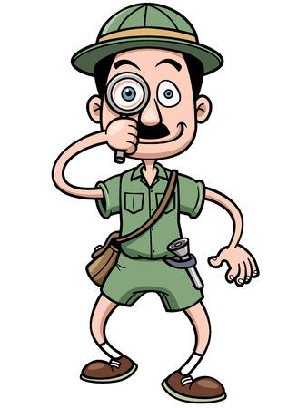 archaeologist: Vector illustration of Cartoon Safari man holding magnifying glass Illustration