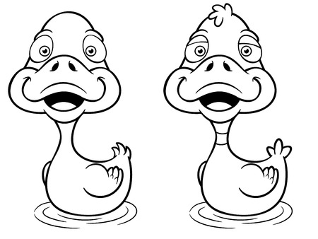 ducky: Vector illustration of Cartoon Duck - Coloring book Illustration