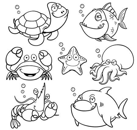 海の動物コレクション - 塗り絵のベクトル イラスト