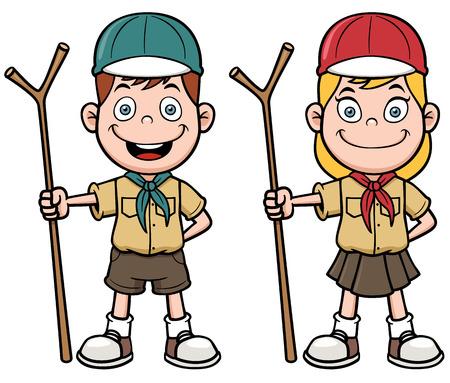 pfadfinderin: Vektor-Illustration von Scout Kinder