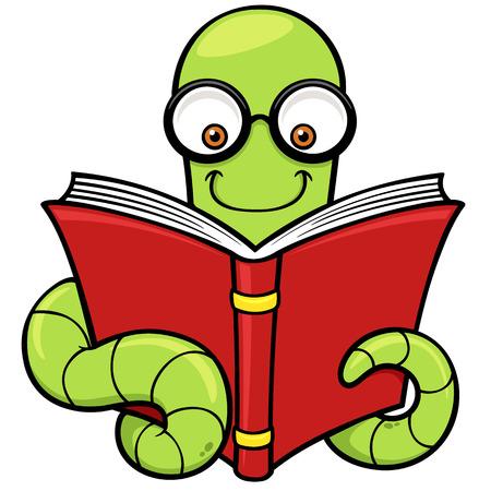 Vector illustratie van Cartoon boekenwurm