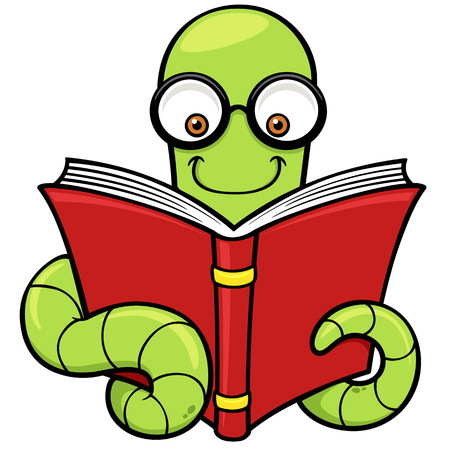 Vector illustration of Cartoon book worm Vector