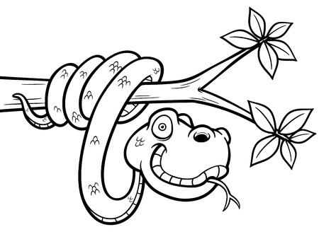 forked tongue: Vector Illustration of Cartoon Snake - Coloring book