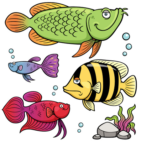 Vector illustration of Aquarium fishes collection Vector