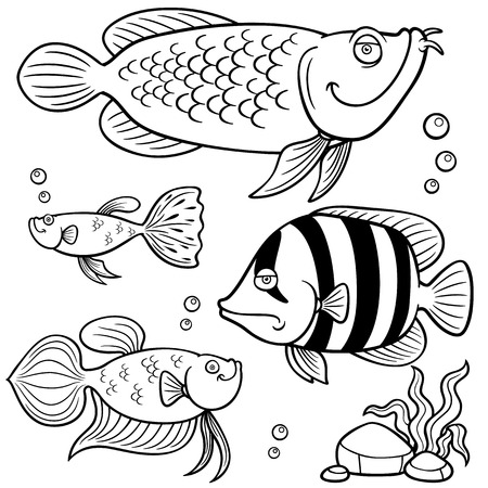 Vector illustration of Aquarium fishes collection - Coloring book Illustration