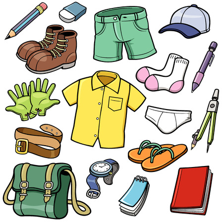 cartoon suitcase: Vector illustration of Clothes set