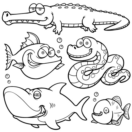 Vector illustration of Wild animal cartoon - Coloring book Vector
