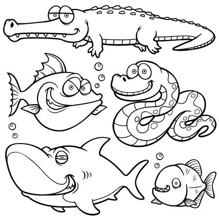 animal cruelty: Vector illustration of Wild animal cartoon - Coloring book Illustration