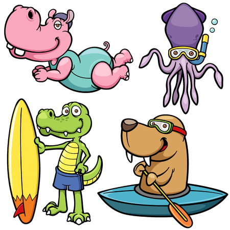 Vector illustration of Cartoon Water sport animal character Vector