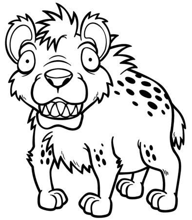Vector illustration of Cartoon Hyena - Coloring book Vector