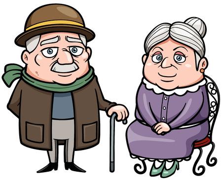 retired: Vector illustration of Senior couple