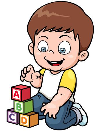Vector illustration of Boy playing blocks Vector