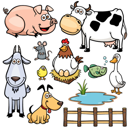 Vektorové ilustrace hospodářských zvířat karikatury