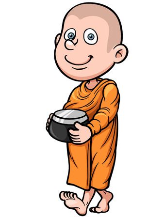 buddhist monk: Vector illustration of Cute young monk cartoon