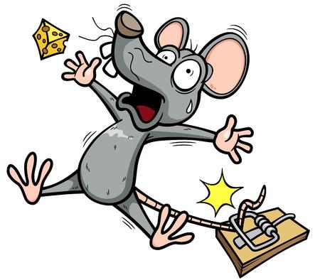 Vector illustratie van een rat is proberen om een stuk kaas te stelen