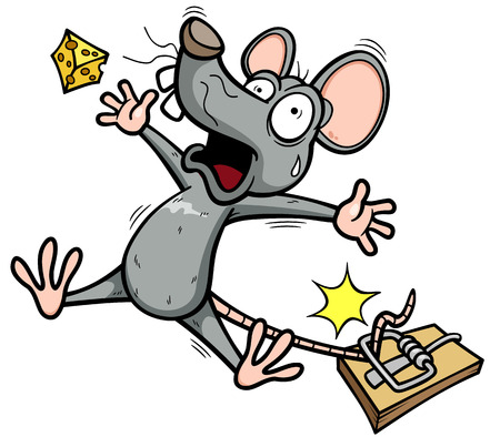 mouse trap: Vector illustration of A rat is trying to steal a piece of cheese