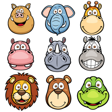 Vector illustration of Wild animals faces cartoons Vector