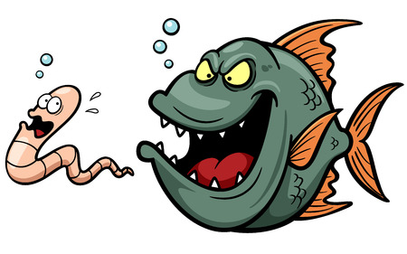 Vector illustration of Angry fish hungry cartoon Illustration