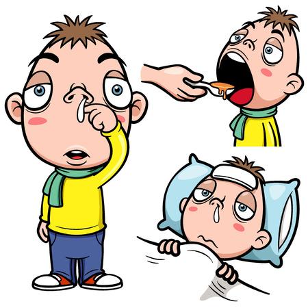 病気の少年漫画のベクトル イラスト