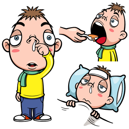 influenza: Vector illustration of sick boy cartoon