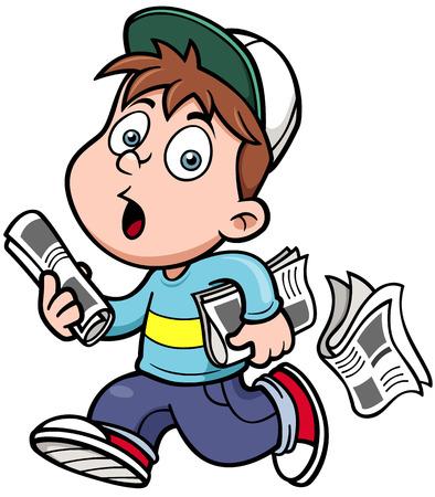 Ilustración De Dibujos Animados De Un Periódico Que Vende