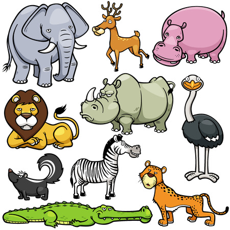 Vector illustration of Wild animals cartoons Vector