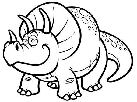 pettifogs: Vector illustration of Cartoon dinosaur - Coloring book Illustration