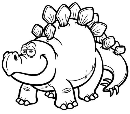 Vector illustration of Cartoon dinosaur - Coloring book Stock Illustratie