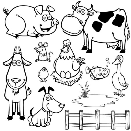 Vector Illustration of Farm Animals cartoon - Coloring book Vector
