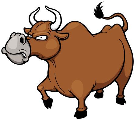 Vector illustration of cartoon Angry bull Vector