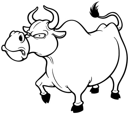 bull cartoon: Vector illustration of cartoon Angry bull - Coloring book