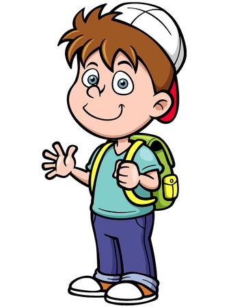 Vector illustration of boy go to school Illustration