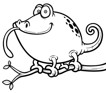 Vector illustration of Cartoon Chameleon - Coloring book Vector